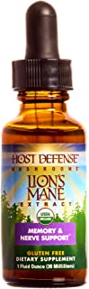 Host Defense, Lion's Mane Extract, Promotes Mental Clarity, Focus and Memory, Daily Mushroom Supplement, Vegan, Organic, 1...