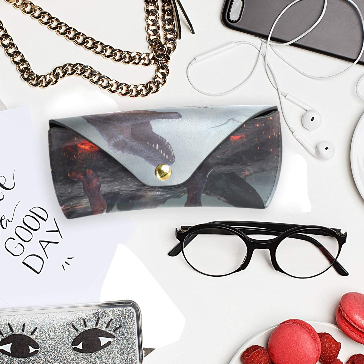 Sunglasses Case Eyeglasses Pouch Dinosaur Disaster Office Goggles Bag Portable Multiuse PU Leather