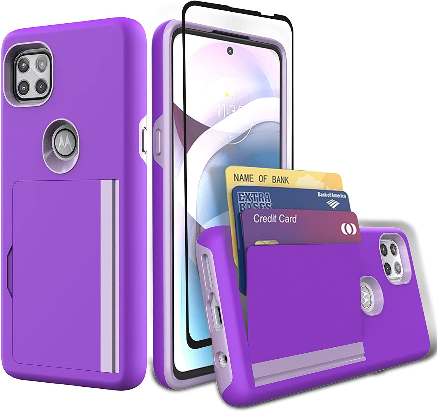 Sofiso for Moto One 5G Ace Case, Moto G 5G Case with Tempered Glass Screen Protector, Dual Layer Smooth Hard Back Cover Wallet Pocket Credit Card ID Protective Case for Motorola One 5G Ace -Purple