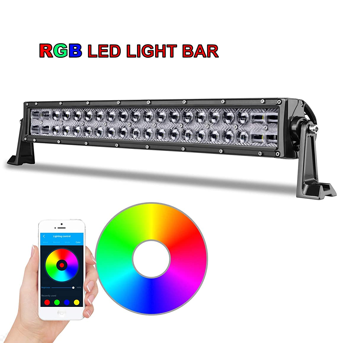 RGB LED Light Bar 20'', AKD Part Bluetooth Control CREE Offroad Light Bar with Wiring Harness 5D Color Changing Off Road Driving Lights Flood Spot Combo Work Lights For Jeep Truck ATV UTV SUV Marine