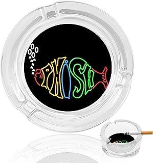 MAKEHEAL Phish Funny Logo Glass Ashtrays, Non-Slip mat + 3 Card Smoke troughs. Portable Decorative Modern Ashtray for Home...