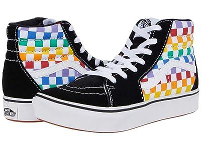 Vans Kids ComfyCush SK8-Hi (Big Kid) ((Checkerboard) Rainbow/True White) Girl