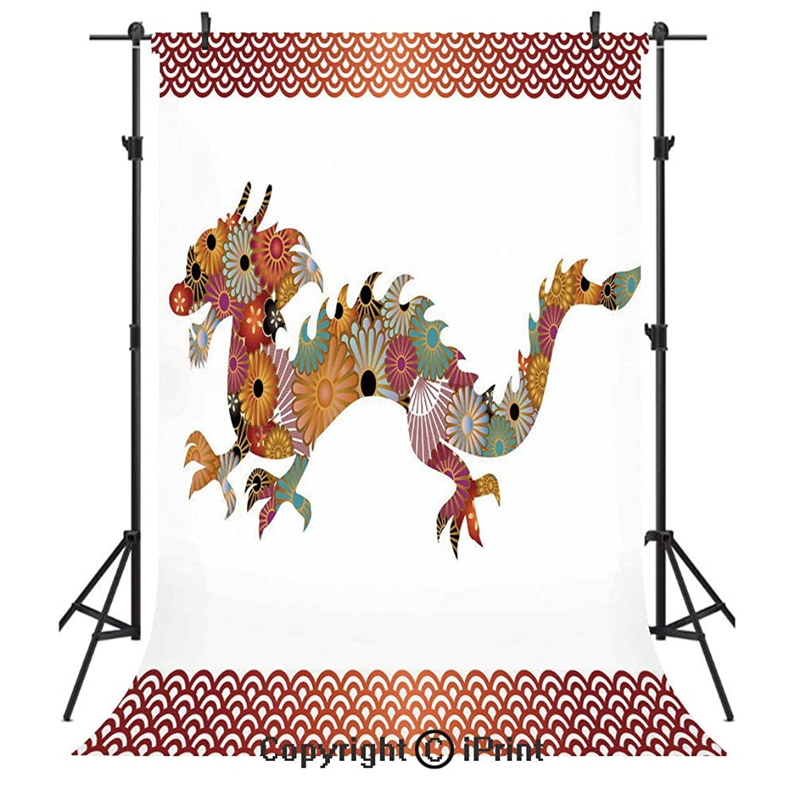 Dragon Photography Backdrops,Floral Ornamental Dragon Body Silhouette with Classic Japanese Wavy Folk Pattern,Birthday Party Seamless Photo Studio Booth Background Banner 3x5ft,Multicolor