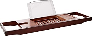 You're Fancy Luxury Dark Walnut Brown Bathtub Caddy, Eco Friendly Bamboo Bath Tray with Extending Sides, Wine, Book, and Tablet Holder (Dark Walnut (Brown))
