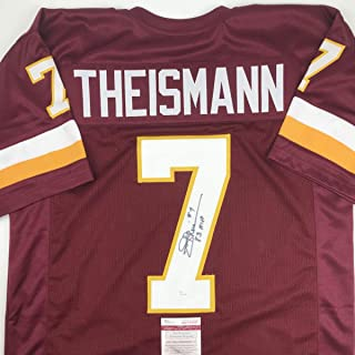 Autographed/Signed Joe Theismann 83 MVP Washington Burgundy Football Jersey JSA COA