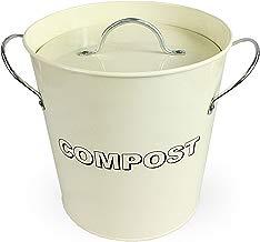 Simpa® - Cubo de cocina metálico para compost, estilo vintage, color crema, para reciclaje de residuos orgánicos, con cubo interior extraíble