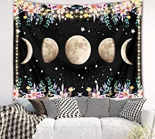 LB Moonlit Garden Floral Tapestry Moon Phase Tapestry Starry Sky Surrounded by Flower Vines Tapestry Wall Hanging Art Poster Black Background for Living Room Bedroom Dorm,60X40 Inchs