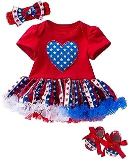 4th of July Baby Girl American Flag Bodysuit Tutu Lace Skirt Set