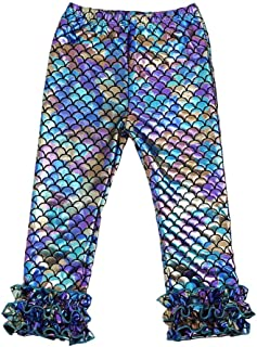Wennikids Baby Girls 2Pcs Scale Mermaid Outfits Set Ruffle Short Pants Set