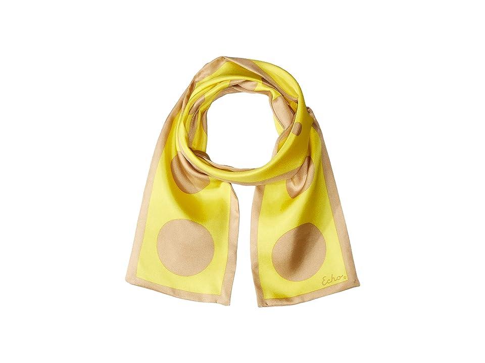 Echo Design Polka Dot Silk Oblong Scarf (Lemon) Scarves, Yellow