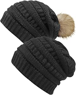 Loritta Womens Winter Cable Knit Hats Soft Fleece Slouchy Beanie and Faux Fur Pompom Hatss