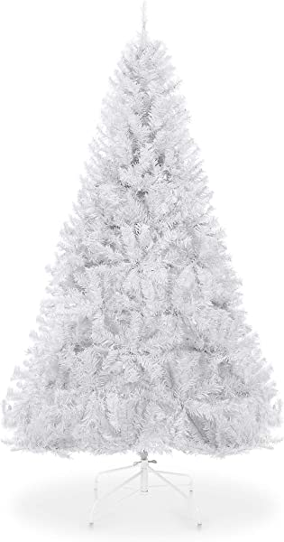 Best Choice Products 6ft Hinged Artificial Christmas Pine Tree Holiday Decoration W Metal Stand 1 000 Tips Easy Assembly White