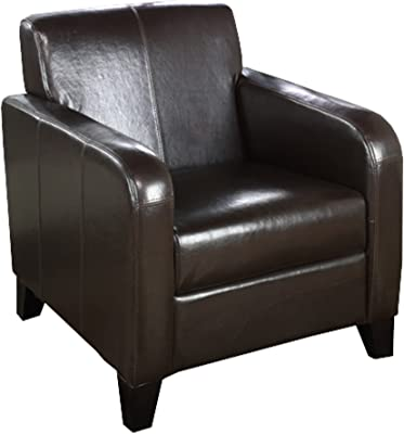 Armen Living 1400 Faux Leather Club Chair, 23x30x32, Brown
