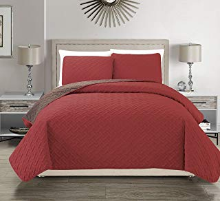 Embossed Burgundy Reversible Bedspread/Quilt Set King