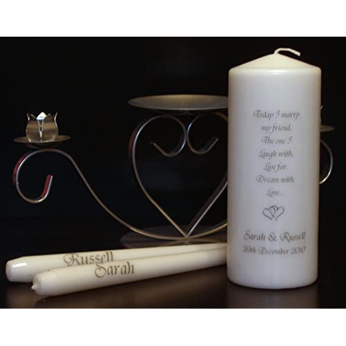 Personalised Today I Marry my Friend Unity candle set including holder