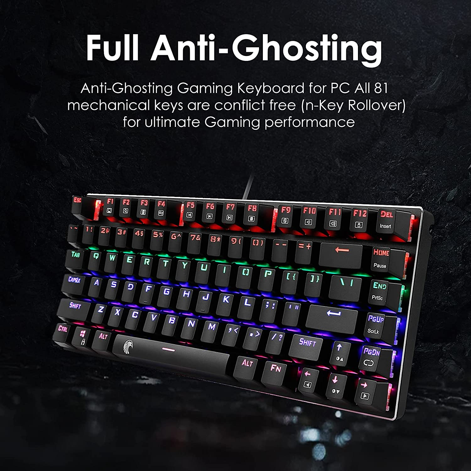 HUO JI 60% Mechanical Gaming Keyboard, E-Yooso Z-88 with Brown Switches, Rainbow LED Backlit, Compact 81 Keys Hot Swappable, Black