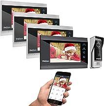 TMEZON 7 اینچ بی سیم / WiFi Smart IP Video درب تلفن سیستم مخابره داخل ساختمان Doorbell ورودی 4 Montior با 1200TVL سیم کشی دوربینی دوربین دید در شب ، پشتیبانی از راه دور قفل گوشی هوشمند ، ضبط ، عکس فوری