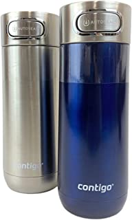 Contigo Luxe AUTOSEAL Vacuum-Insulated Stainless Steel Travel Mug, (414 ml Each) 2 Pack Stainless Steel and Monaco