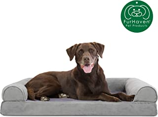 Furhaven Pet Dog Bed   Orthopedic Faux Fur & Velvet Traditional Sofa-Style Living Room Couch Pet Bed w/ Removable Cover for Dogs & Cats, Smoke Gray, Large