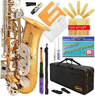 Lazarro 360-LN E-Flat Eb Alto Saxophone Gold-Silver Keys with Case, 11 Reeds, Care Kit and Many Extras