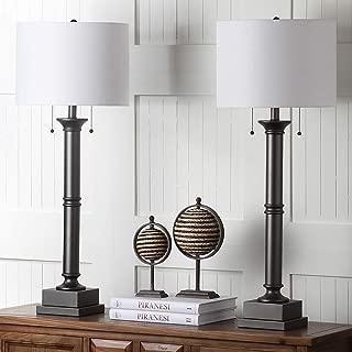 Safavieh Lighting Collection Estilo Column Silver Grey 35.25-inch Table Lamp (Set of 2)