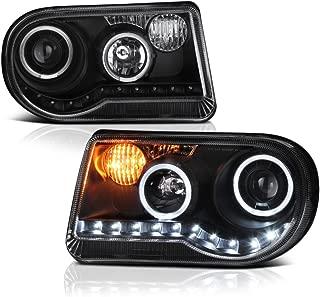 VIPMOTOZ LED Halo Ring Projector Headlight Assembly For 2005-2010 Chrysler 300C (Factory Halogen Model) - Matte Black Housing, Driver and Passenger Side