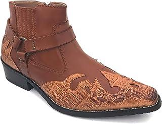 299d3209f2367b Alberto Fellini W1TCJ Men s Cowboy Boots Western Ankle Harness Leather  Lining Side Zipper Shoes