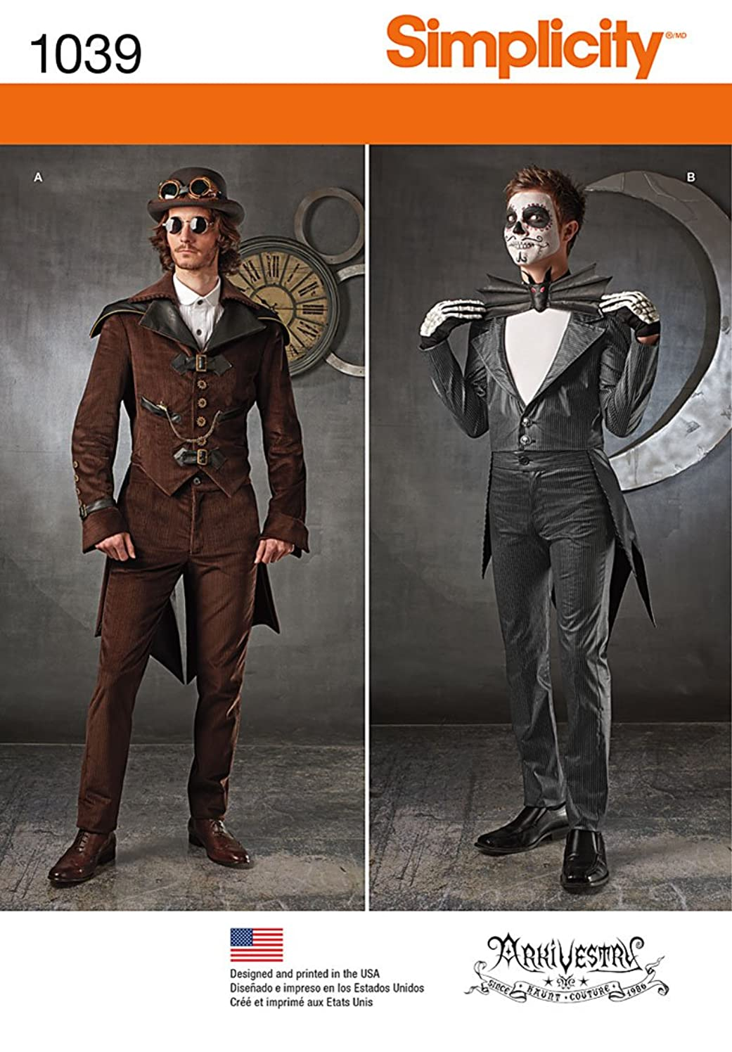 Simplicity Men's Steampunk and Skeleton Cosplay and Halloween Costume Sewing Pattern, Sizes 38-44