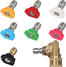 STYDDI Universal Power Pressure Washer Spray Nozzle Tips and Quick Connect Pivot Adapter Coupler 180 Degrees with 5 Rotation Angles, Soap and Rinse Jet Stream Tips Kit, 1/4 inch, 2.5 GPM, 8 Pack
