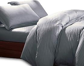 Essina Super King Quilt Cover Set 3pc Colour Palette Collection, 100% Cotton Striped Jacquard 680 Thread Count Duvet Cover...