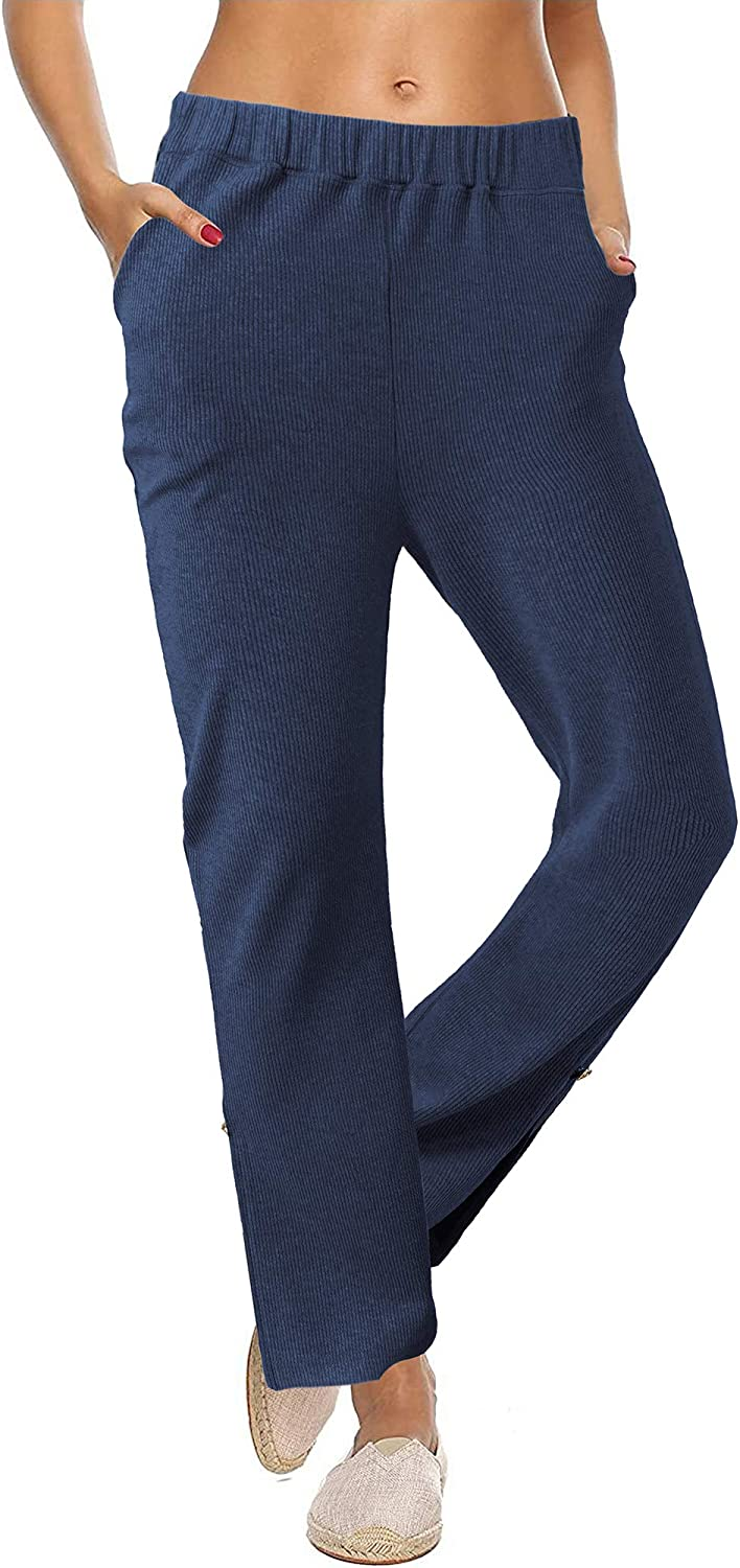 BENANCY Women's Casual Comfy Wide Leg Stretch Pants with Pockets