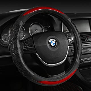 Black Panther Luxury Leather Car Steering Wheel Cover with 3D Honeycomb Hole Anti-Slip Design - Red,1 Piece (15 × 3.3 Inches)