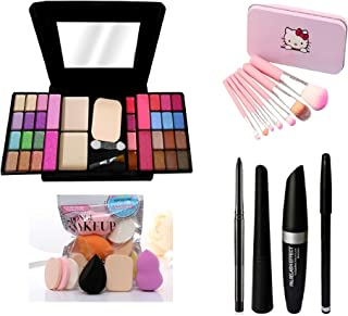MY TYA Fashion Makeup Kit for Girls + Premium Hello Kitty Makeup Brushes 7 Piece + Kelli Makeup Sponges 6 Piece + Eye Line...