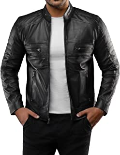 Mens Leather Jacket - Distressed Brown Motorcycle Leather Jacket for Men
