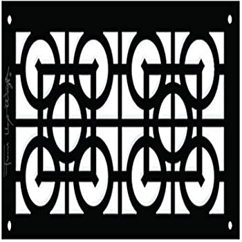 Architectural Grille FLWAprilFlowers0061204BM 6 in x 12 in Aluminum Black-Matte Frank Lloyd Wright Collection April Flowers Grille