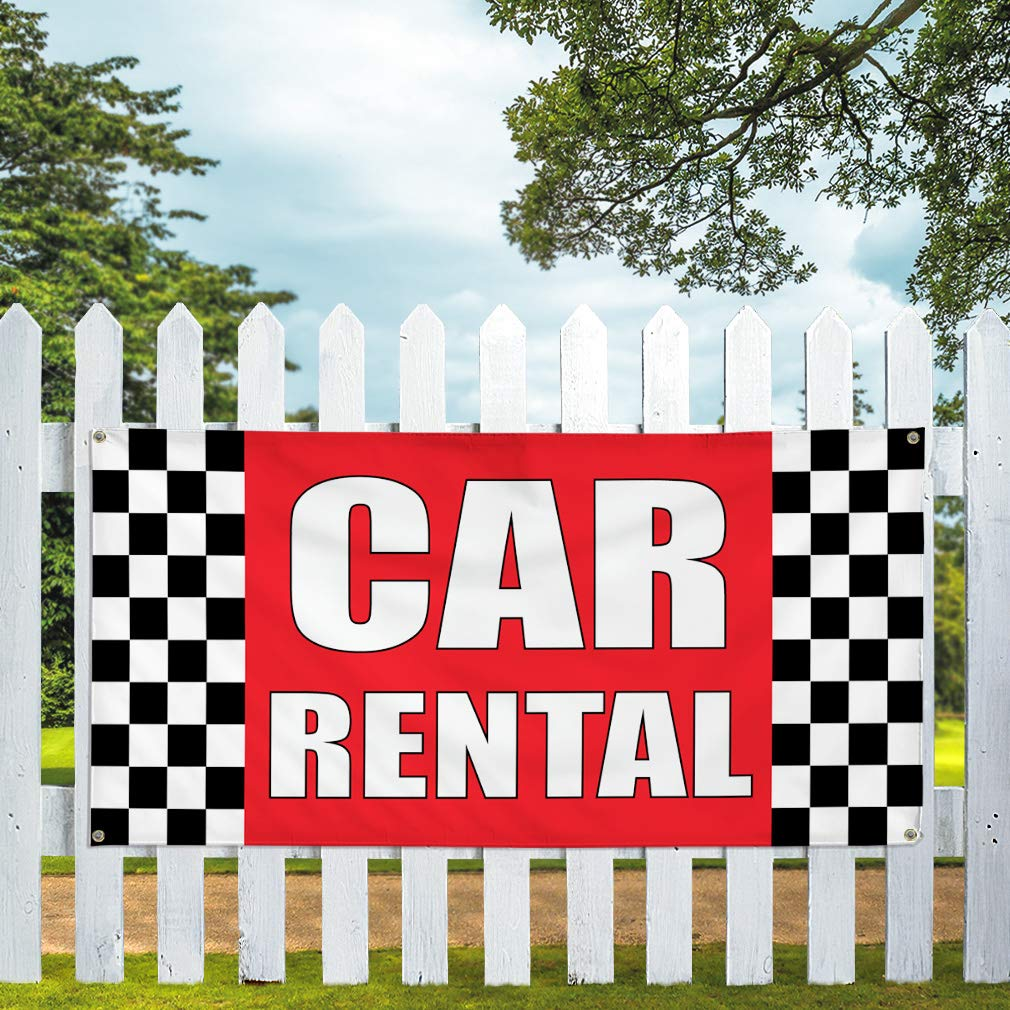 Vinyl Banner Multiple Sizes Car Rentals Outdoor Advertising Printing A Business Outdoor Weatherproof Industrial Yard Signs White 10 Grommets 60x144Inches
