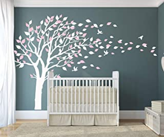 LUCKKYY Tree Blowing in The Wind Tree Wall Decals Wall Sticker Vinyl Art Kids Rooms Teen Girls Boys Wallpaper Murals Sticker Wall Stickers Nursery Decor Nursery Decals (White+Pink+)