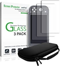 amFilm Nintendo Switch Lite Glass Screen Protector (3 Pack) and Nintendo Switch Lite Case
