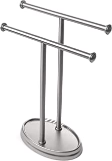 Umbra Palm Double Hand Towel Tree, Brushed Nickel 2 Towels Holder and Accessories Stand for Bathroom Vanities - Slim, Modern, Durable Bars With Base Serves as a Jewelry Tray for Rings