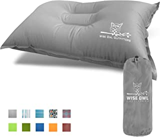 Wise Owl Outfitters Camping Pillow Lightweight & Self Inflating – Inflatable Foam & Air Compact Camp Pillow Best for Lumbar Support Travel Airplane Camping Beach Hammock Backpacking Hiking Sleeping