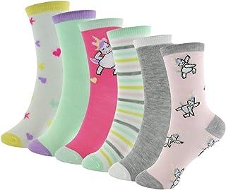 6 Pares de Calcetines Estampados de Unicornio para Niñas