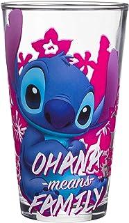 (Lilo & Stitch) - Silver Buffalo LI124166B Lilo and Stitch Ohana Means Family Pint Glass with Gift Box, 470ml, blue and pink