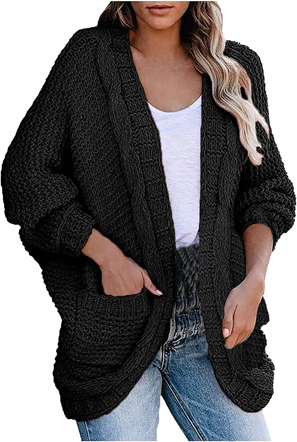 Women's Winter Long Sleeve Open Front Sweater Solid Color Cable Knitting Cardigan with Pocket