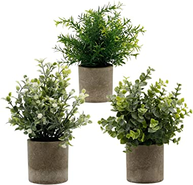 """Zcaukya Small Potted Artificial Plants, Artificial Eucalyptus Plants Fake Rosemary White Baby's Breathe 9.5"""" Plastic"""