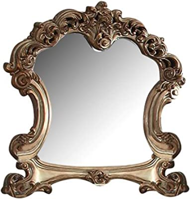 Benjara Wall Mirror with Wooden Carvings and Crown Top Frame, Gold