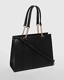 Black Tina Panel Tote Bag