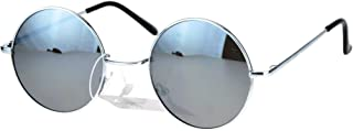 Reflective Color Mirrored Hippie Groove Round Circle Lens Retro Sunglasses