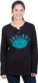 Icer Brands NFL Jacksonville Jaguars Women's Fleece Sweatshirt Lace Long Sleeve Shirt, Medium, Black