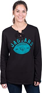 Icer Brands NFL Jacksonville Jaguars Women's Fleece Sweatshirt Lace Long Sleeve Shirt, Small, Black