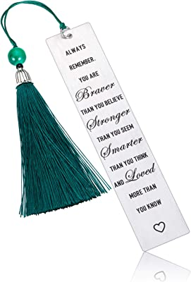 Bookmark with Tassel Inspirational Gift for Women Men Kids Reader Metal Bookmark for Book Lover Student Friends Stainless Steel Office Gifts Birthday for Daughter Son from Mom Dad Always Remember